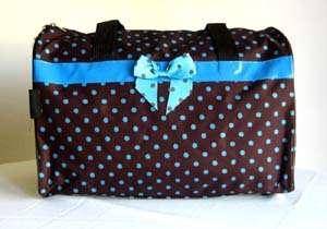 19 Duffel/Tote Bag Brown&Blue Polka Dots Luggage Purse
