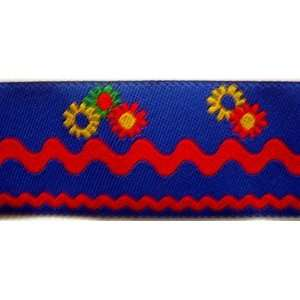 Floral Jacquard Ribbon Trim With Red Rick Rack Design