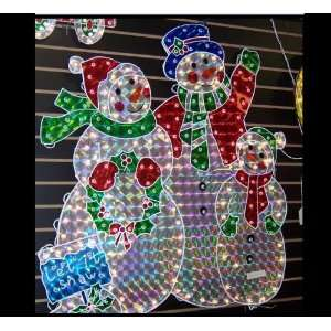 SNOWMAN AND FAMILY HOLOGRAPHIC CHRISTMAS YARD ART