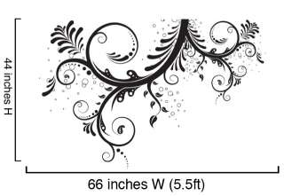Vinyl Wall Decal Sticker Flower Floral Swirl LARGE