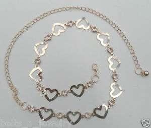 Wholesale Rhinestone Heart Chain Link Belt 3125 GD & SV