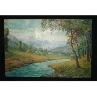 ANTIQUE IMPRESSIONIST OIL PAINTING LANDSCAPE