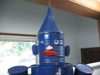 Blue Coffee Tin Can Man Wind Chime Handmade Outdoor Guy Robot Yard