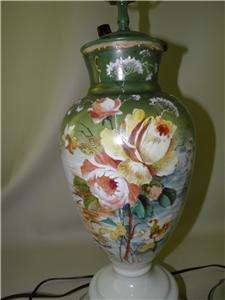 OF LAMPS OPALINE GLASS HAND PAINTED ENAMEL ROSES WOOD PAINTED BASES