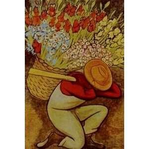 Diego Rivera Art Reproduction Oil Painting   El Vendedor De Flores