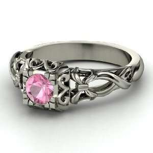 Ribbon Lace Ring, Round Pink Tourmaline 14K White Gold Ring Jewelry