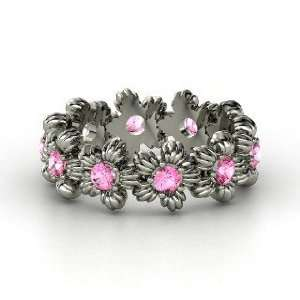 Lei Eternity Ring, 14K White Gold Ring with Pink Sapphire Jewelry