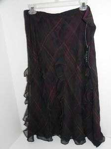 Ralph Lauren Multi Fnly Wine Plaid Silk Ruffle Skirt L