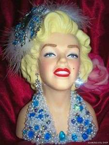 Stunning MARILYN MONROE Jeweled LADY HEAD VASE Headvase
