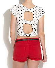 White Pattern (White) Spotty Cut Out Crop Top  253996419  New Look