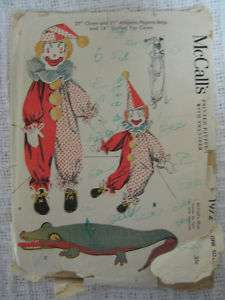 VTG 50s McCalls CLOWN ALLIGATOR TOY DOLL Sewing Pattern