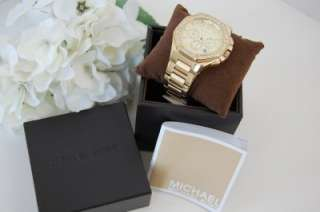 NEW IN BOX MICHAEL KORS WOMENS KNOX GOLD TONE CHRONO CRYSTAL WATCH