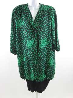 RICHILENE Vintage Black Green leaf Print Dress 12