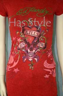 ED Hardy RED Shimmer Love Kills Slowly T Shirt women