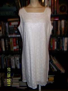 XL ivory lace wiggle dress cotton mother of bride 14 16