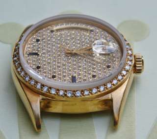 ROLEX 18k YELLOW GOLD MENS DAY DATE PRESIDENT WATCH HEAD ONLY PAVE