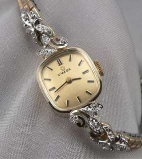 Vintage OMEGA 14K Solid GOLD & DIAMOND Ladies WRISTWATCH Wrist Watch