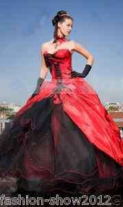 bridal gowns Wedding dress Prom gown Quinceanera dress red/black