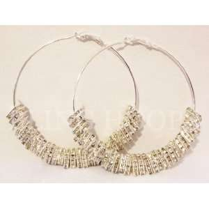 Kimbella of Love and Hip Hop Swarovski Crystal Squares Hoop Earrings