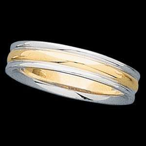 4mm Two Tone Comfort Fit Design Band (18K Yellow Gold, 9) Jewelry