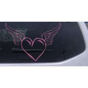 Heart With Wings Girlie Car Window Wall Laptop Decal Sticker    Pink