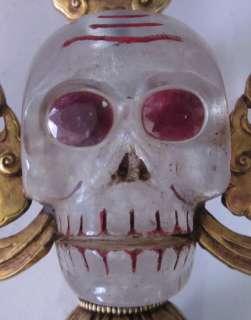 Old Tibet Tibetan Crystal 24K Gilt Bronze Skull Phurpa Dagger