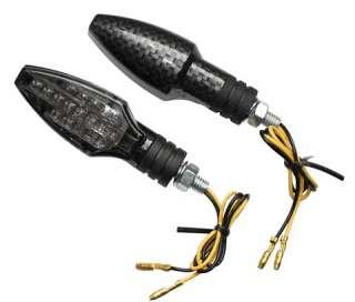 Motorrad LED Blinker COMO Carbonlook getöntes Glas /Paar E geprüft