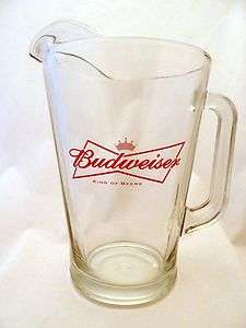 Vintage Budweiser Beer Bar Glass Pitcher Retired BowTie Logo 48 oz