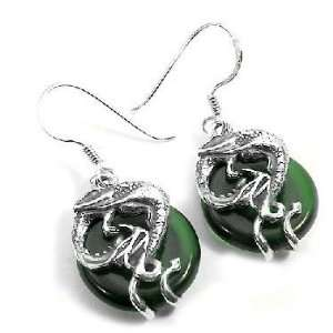 Sterling Silver Coiled Dragon on Emerald Green Glass Hook