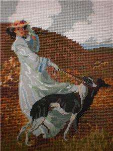 Completed Needlepoint Canvas Lady Wall Hanging