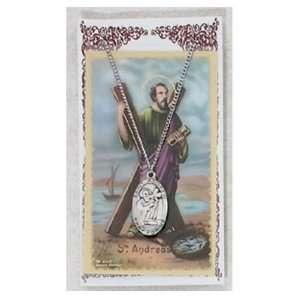 Pewter St. Andrew Medal & 24 Chain, Prayer Card Set