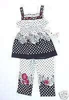 NWT LIPSTIK ENGLISH ROSES BLACK & WHITE PANTS SET SZ 4