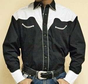 Western Cowboy Shirt   Two Tone Black & White   SPECIFY SIZE