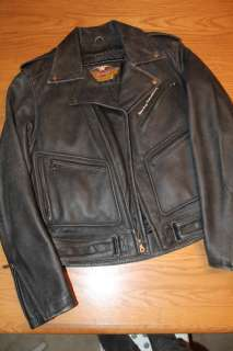 Harley Davidson Mens Classic Motorcycle Jacket. Gen Leather, Excellent
