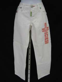 DSQUARED2 White Embroidered Cropped Jean Capri Pants 38