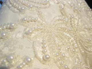 Size 4X Beaded Evening Gown Lace Pearls Ivory Wedding Dress Plus Size