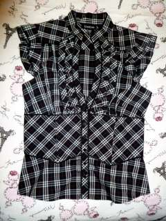 ADORABLE PLAID RUFFLE SHIRT BLOUSE TOP CAREER WORK ♥ SMALL S