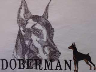 Mens Doberman Pinscher Dog T Shirt Embroidered White Large