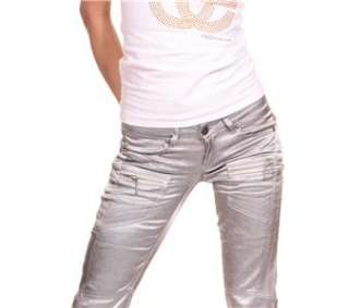 BT JEANS SIZE UK 6 to 14 COOL URBAN FASHION** SILVER METALIC LOOK