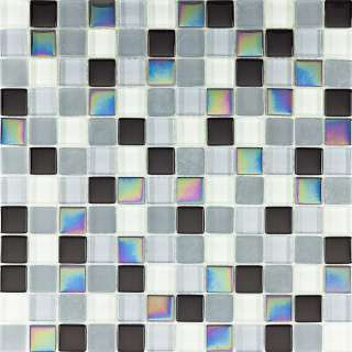 or Bathroom Black Shades Polished Frosted Iridescent Glass Mosaic Tile