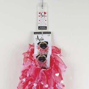 Aria Valentine Scrunchy Dog Collar MD Pink/Magenta NEW