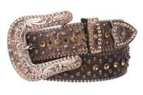Metal ball chain edges Western rhinestone buckle set, snap on