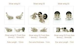 Black, Silver Angels Wings Stainless ST Stud Earrings