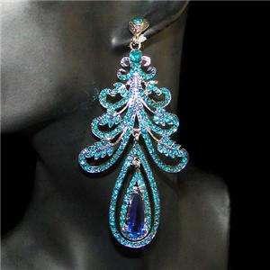 Leaf Teardrop chandelier Earring Blue Swarovski Crystal