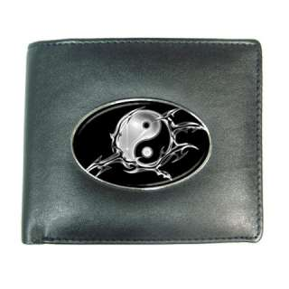 Ying Yang Black White5 Mens Leather Wallet Credit Card