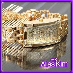 Alias Kim Golden Crystal Case Ladies Bracelet Watch New