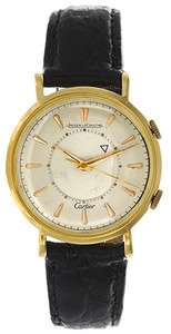 Very Rare Cartier Jaeger LeCoultre Alarm 18k Yellow Gold Mens Vintage