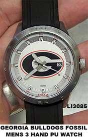 Georgia Bulldogs Fossil Mens 3 Hand PU Watch LI3085 NEW
