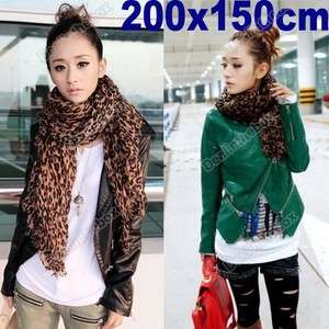 NEW HOT Fashion Larger Animal Leopard Print Shawl Scarf Wrap Stole