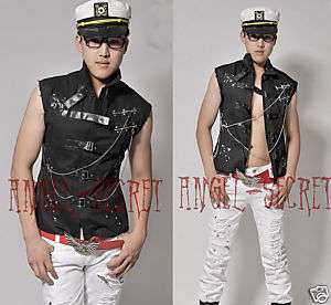 MV2, MENS PUNK ROCK HEAVY METAL CHAIN CROSS VEST